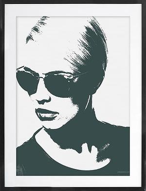 Sort/ hvid plakat med Grafisk ansigt 50x70 cm