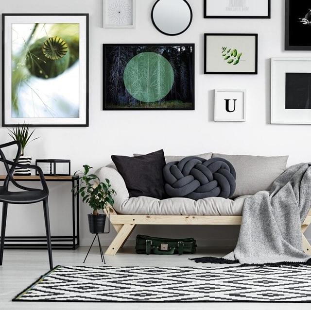 Billede kollage til stuen med Sorte matte 50x70 cm rammer